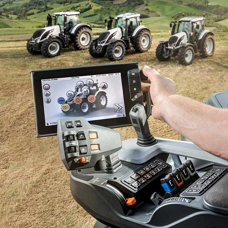 valtra n4, t4, s4 series with smarttouch on a field